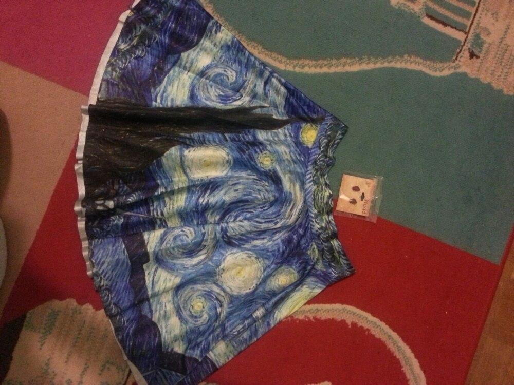 New Fashion Skirts Women Retro Vintage Digital Print the Galaxy Starry Night Jake Skater Skirt (Size: M) [NF] LB