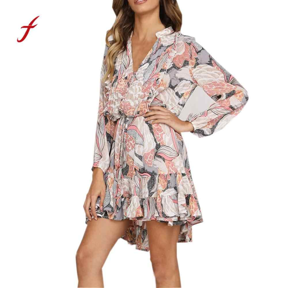 Spring Autumn Dress Women Chiffon Long Sleeve V Neck Floral Printing Dress  Ladies Casual Evening Party 6fd263da1