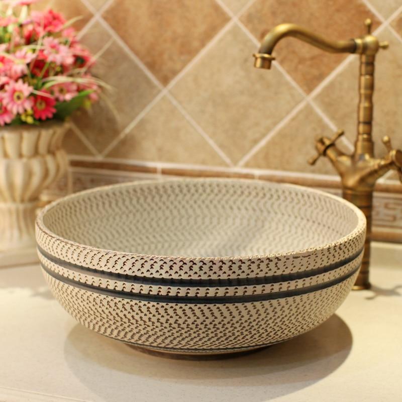 Thread Pattern Porcelain Bathroom Vanity Bathroom Sink Bowl Countertop Ceramic Wash Basin Bathroom Sink Bathroom Sinks Aliexpress