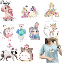 Pulaqi Cute Little Animal Thermal Transfer Iron On Patches Boys Washable Sticker Unicorn For T - Shirt H
