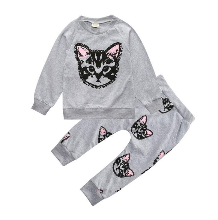 2017 children girls long sleeve cat cotton tee harem pants clothing set kids fashion casual sports outfits baby sports suits