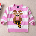 Female child sweater pullover 2016 spring and autumn o-neck 100% cotton thermal long-sleeve stripe male child knitted basic