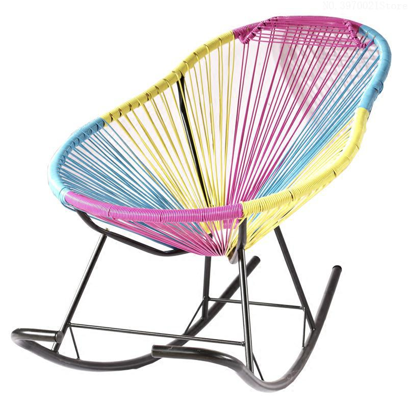 Strange Us 69 62 20 Off Colorful Rattan Chair Reclining Rocking Chair Creative Balcony Lounge Chair Outdoor Garden Chairs With Cushion Bearing 130Kg In Caraccident5 Cool Chair Designs And Ideas Caraccident5Info