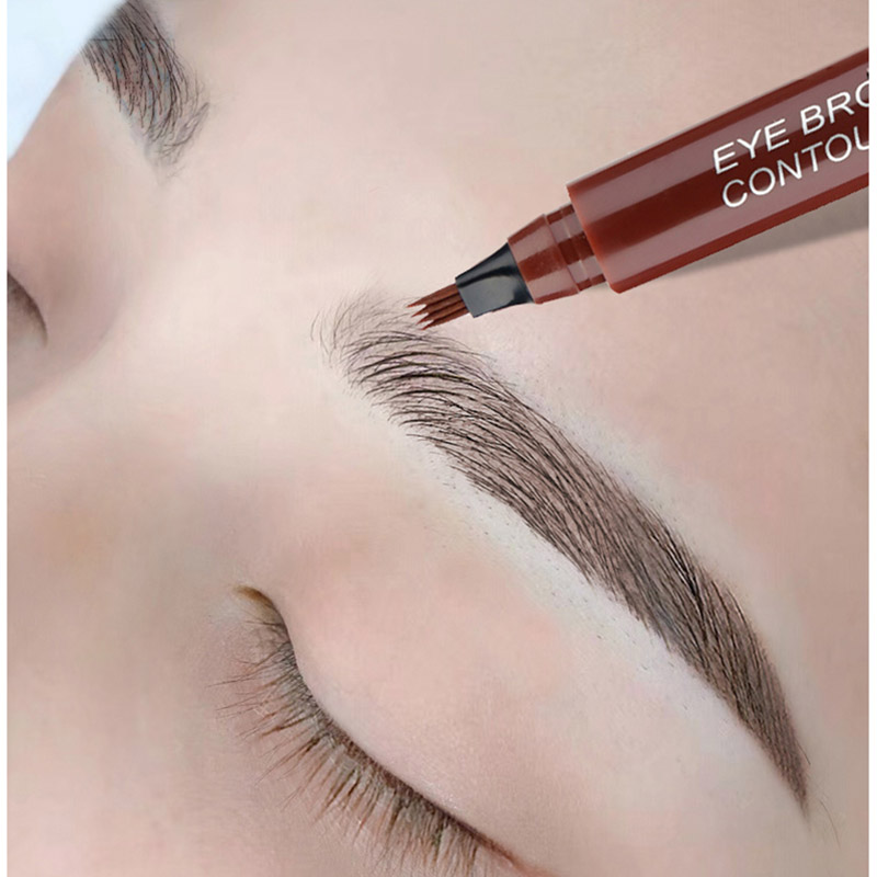 Eyebrow Pencil Waterproof 4 Fork Tip Eyebrow Tattoo Pencil Long Lasting Professional Fine Sketch Eye Brow Pen Liquid(China)