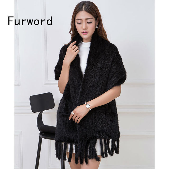 2016 Real Mink Scarf Pure Natural Women's Knit Fringed Fur Shawl With Pocket Fashion Warm Scarf  Oblong Scarf