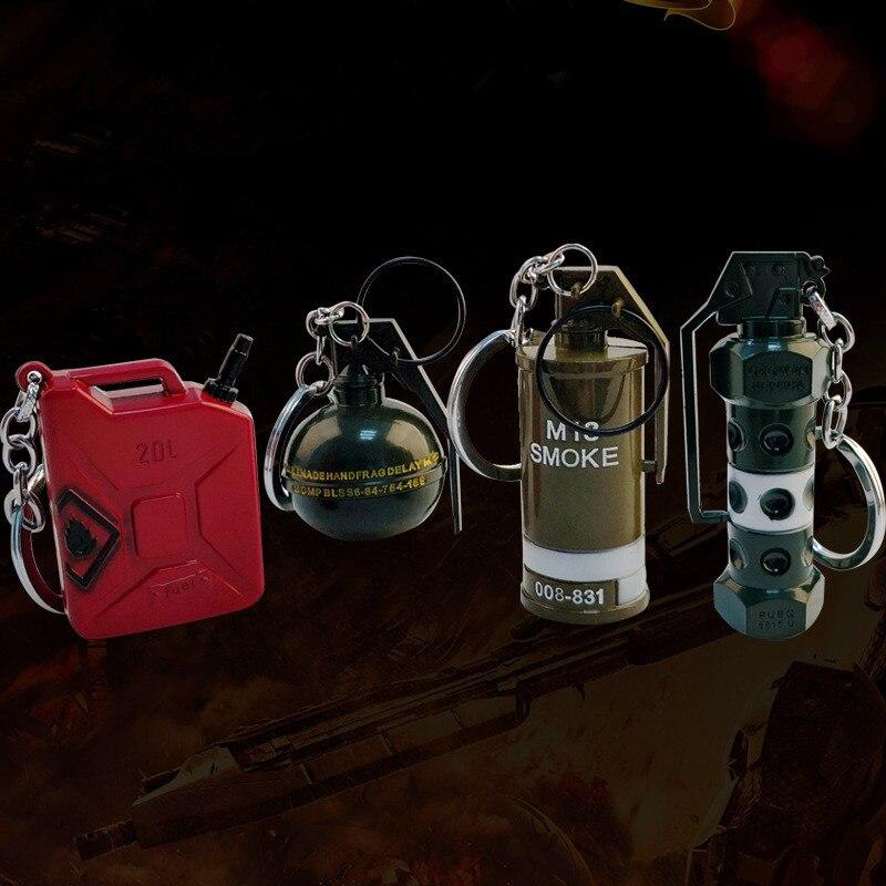 Hot Game Playerunknowns Battlegrounds 3D Keychain 7 Style PUBG Keyring Smoke Bomb Flash Bomb Keychain Keyrings for Car Pendant