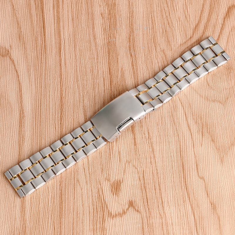 8/20/22mm Solid Link Stainless Steel Bracelet Men Wrist Band Watch Strap Replacement Fold Over Clasp Silver/Black/Gold женский кулон soul diamonds золотой кулон с бриллиантами и рубином buhk 7312 14kr