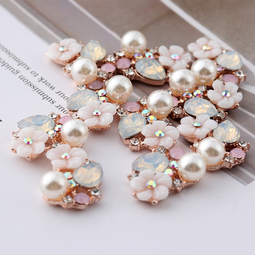 10PCS Flower Rhinestone Buttons Flatback Plating Pearl Hairpin Decoration Apparel Sewing Accessories DIY Craft