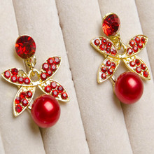 fashion cubic zirconia earrings wedding for women crystal korean long statement red Rhinestone pearl flower