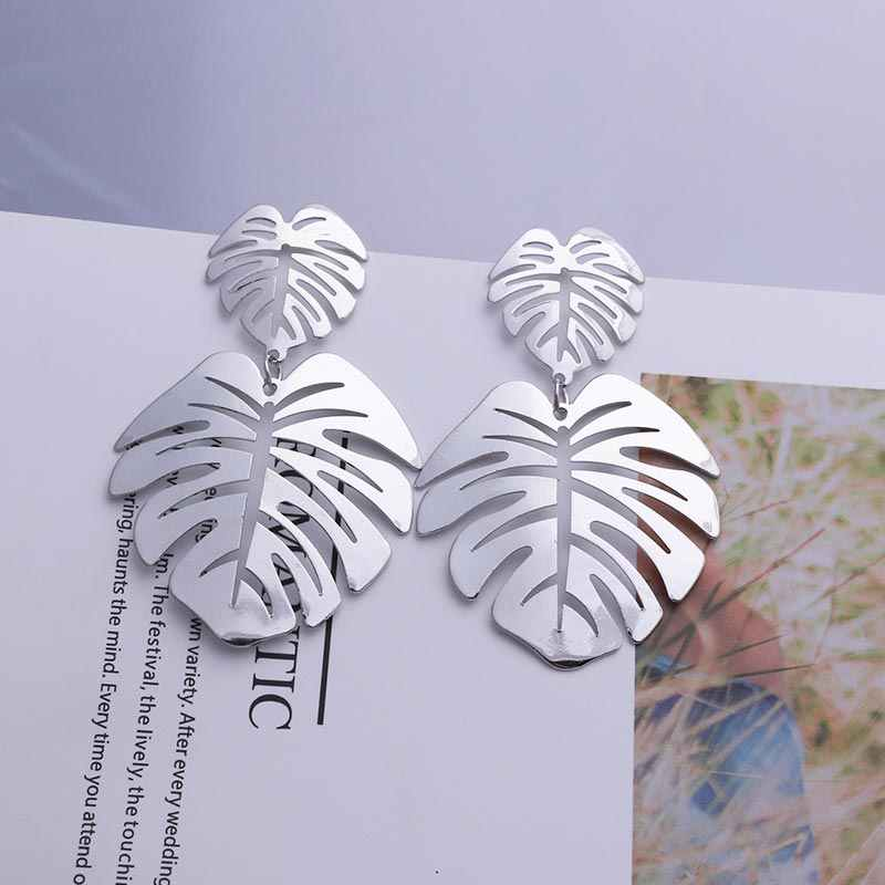 Big Leaf Earrings Retro 2019 Large Statement Earrings for Women Bohemia Hollow Metal Leaves Dangling Earrings Silver Jewelry