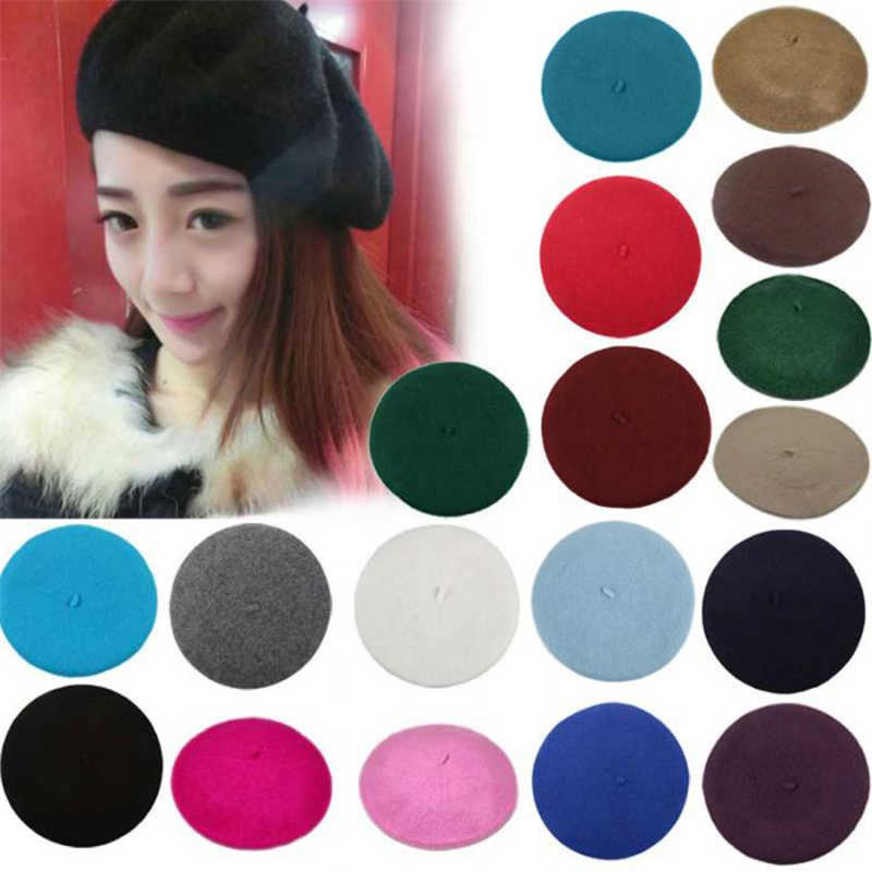 Elegent British Lady Women Knitted Beret Beanie Ski Hats Fashion Tam Cap Hat IK88