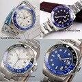 4 modelle Nologo 40 MM Sterile Zifferblatt Keramik Lünette GMT Funktion Automatische Bewegung herren Uhr Mental Strap Datum Fenster-in Mechanische Uhren aus Uhren bei