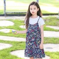 Çiçek Baskılı Bebek Kız Çocuk seti Kolsuz Yaz Elbiseler için Elbise ve T Shirt Üstleri Bebek Sundress Giyim 8 10 12 Yıl