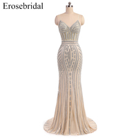 New 2018 Champagne Evening Dress Sexy Backless Formal Women Prom Party Gowns Sliver Crystal Vestido De