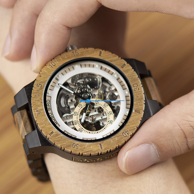 BOBO BIRD montre mécanique en bois hommes de luxe Design rétro avec étiquette en or à côté de la montre-bracelet automatique et multifonctionnelle - 6