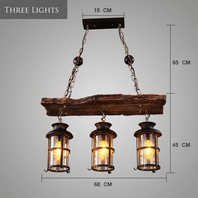 Retro Industrial Pendant Lamp 3 lights Old Boat Wood led Pendant Light Nostalgia Hanging Light For Bar Cafe Foyer Home Lightings