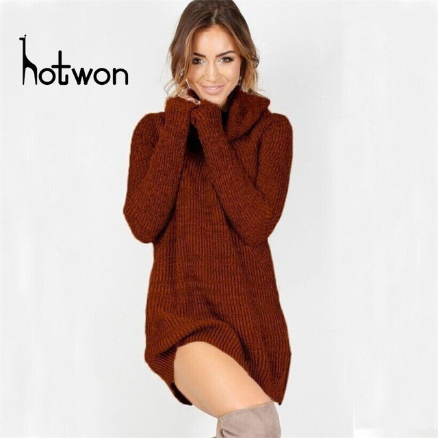 d19b747cec6 2018 nouveauté automne hiver femmes robe col roulé col roulé lâche manches  longues Oversize pull robe