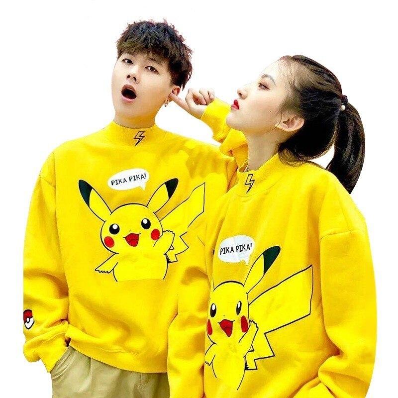 2019 Pokemon Pikachu Print Unisex Men Women Autumn Hoodies Slim Sweatshirt For Couple Lovers Winter Cute Lovely Warm Pullovers