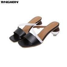 TINGHON Crystal Geometric Heel Sandals Women Open Toe High 6.5CM Mixed Color Summer