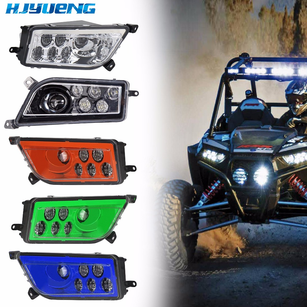 2017 New Led Headlight RZR 1000 LED lights for Polaris RZR 900 Conversion Led Headlight Kit 2014-2016 RZR XP 1000 XP TURBO black shallow cut turbo hood scoop air intake for 2014 2018 all polaris rzr s xp xc 900 4 1000 models