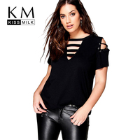 Kissmilk Plus Size Hollow Out Front V Neck Tie Basic Tops Solid Color Short Sleeve Women