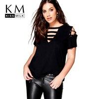 Kissmilk Plus Size Hollow Out Front V Neck Tie Basic Tops Solid Color Short Sleeve Women