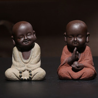 Chinese Pottery Purple Clay Small Sand Mi Monk Tea Pets Ornaments Boutique Tea Ceremony Play Tea