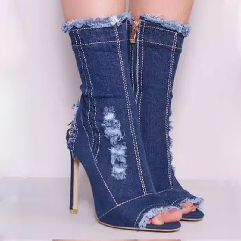 Sexy Women White Stitch Bordered Denim Peep Toe Sandals Ankle Boots  Stiletto High Heel Summer Slingbacks Cowboy Bottines fe336eb29ed3