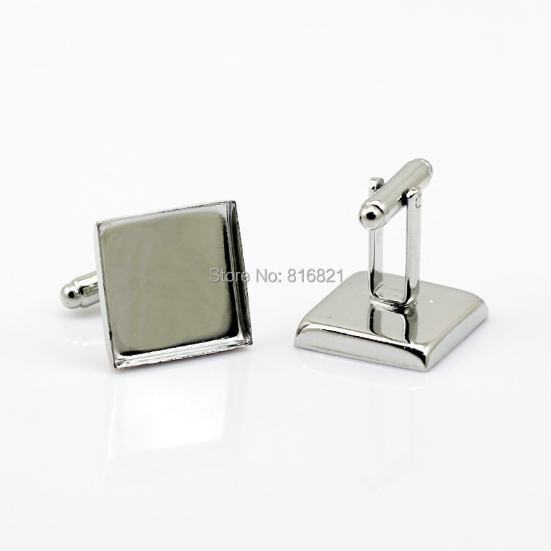 Blank Cufflinks Settings with Square Deep Wall Bezel Cups Resin Cabochon Base Men s Cuff Links