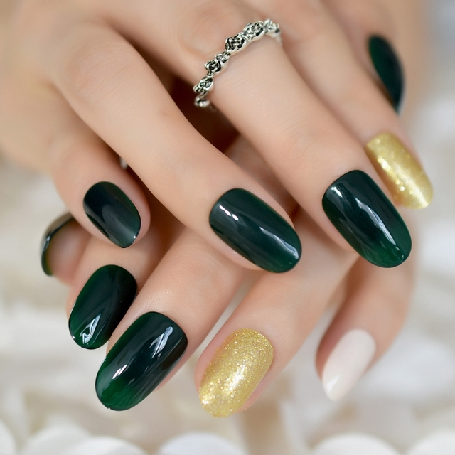 24 Gorgeous UV Gel Tip Nail Designs for a Classy Manicure Dark Green Oval  Fake Nails - 24 Gorgeous UV Gel Tip Nail Designs For A Classy Manicure Dark Green