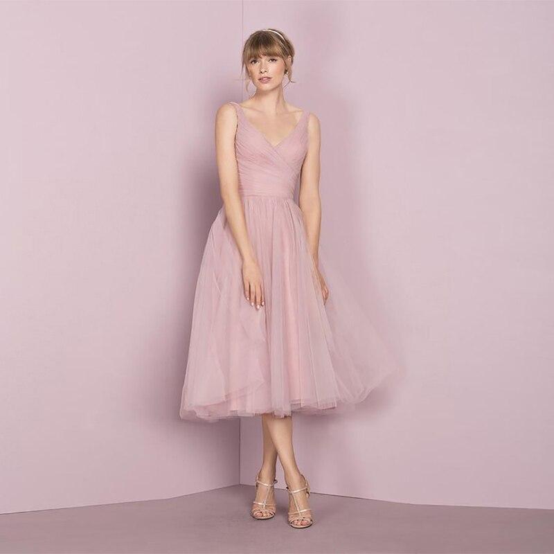 Verngo Simple Pink Tull   Prom     Dresses   Short Ball Gown V-neck   Prom     Dress   Elegant Party   Dress   Gala Jurken Vestido Formatura