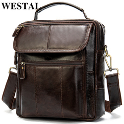 WESTAL Messenger Bag Men Leather Flap Men's Bags Genuine Leather Male Men's Shoulder Bag Crossbody Bags for men Handbags