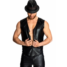 CFYH 2018 Fashion Men Sexy club Party Performance Slim Tank top PU Leather Cardigan Vest Tops for mens clothing M-2XL
