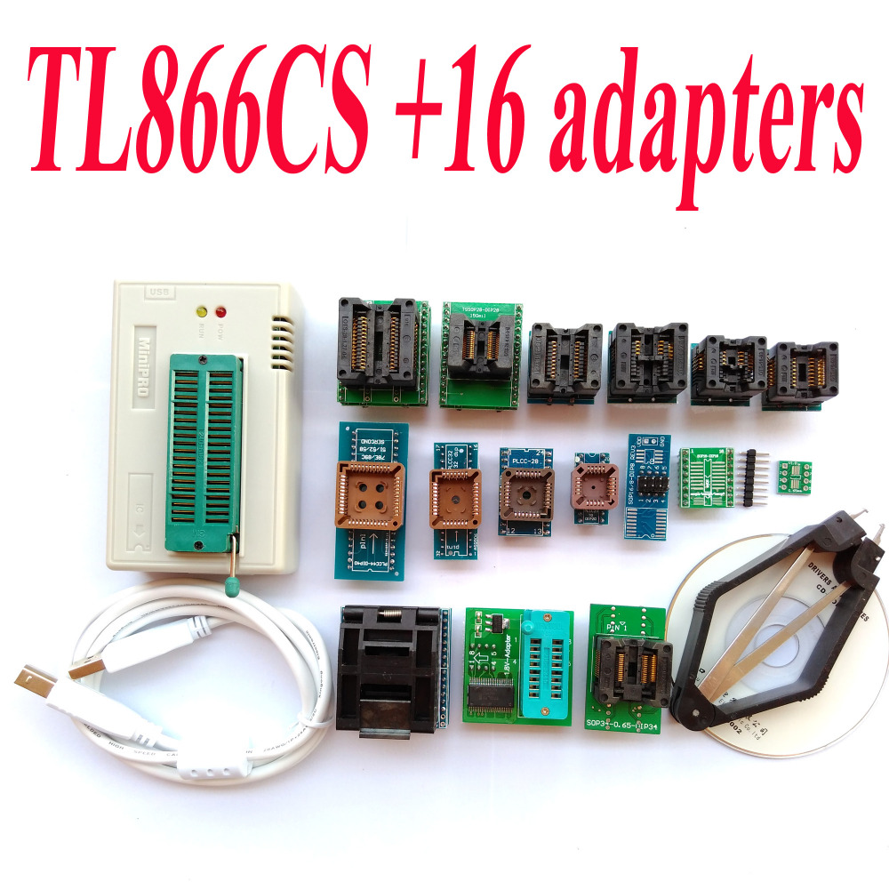 TL866CS font b programmer b font 16 adapters High speed TL866 AVR PIC Bios 51 MCU