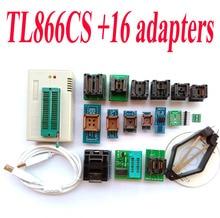 TL866CS programmeur + 16 adaptateurs Haute vitesse TL866 AVR PIC Bios 51 MCU Flash EPROM Programmeur PLCC SOP TSSOP SSOP Anglais manuel