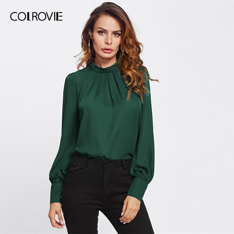 COLROVIE Green Stand Collar Pleated Vintage   Blouse     Shirt   Women Clothing 2019 Spring Korean Fashion Long Sleeve   Shirts   Femme Tee
