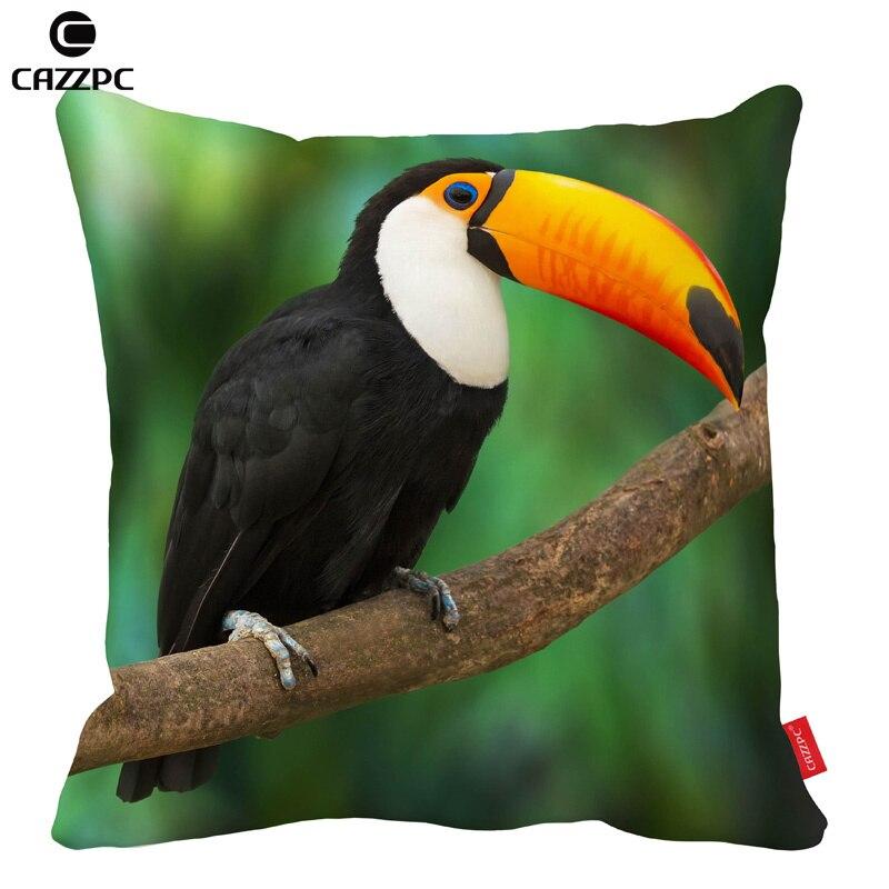 Tropical Rain forest Cute Toucan Bird Print Car Decorative Throw Pillowcase Pillow cases Cushion Covers Sofa Chair Home Decor
