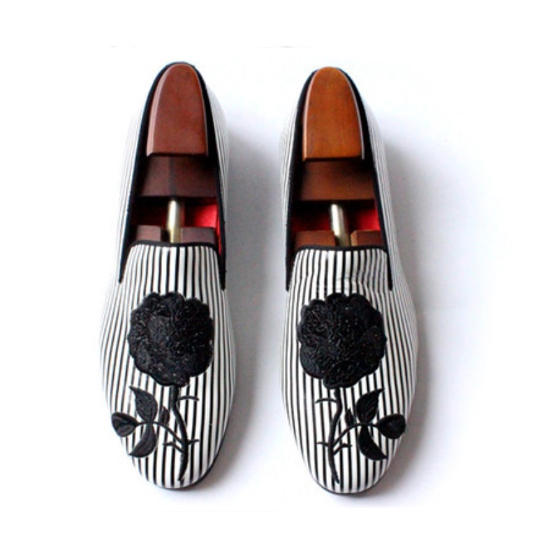 Black and white striped embroidery rose party wedding shoes men flats leather handmade size US 5-11 a three dimensional embroidery of flowers trees and fruits chinese embroidery handmade art design book
