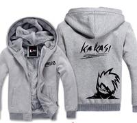 Naruto Kakashi Winter Hoodies Sweatshirt Men Casual Male Jackets Hoody Cloak Shawl Men Cloth Keep Warm Hatake Kakashi