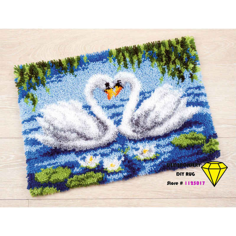 cross-stitch carpet DIY Mat Rug Needlework Embroidery Kit Unfinished Crocheting Yam Cushion Embroidery Carpet swan
