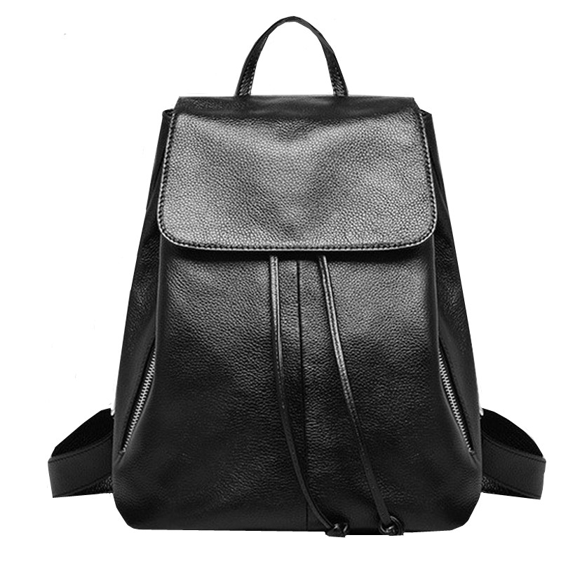 genuine leather backpack black leather bag high quality ladies shoulder bags stylish backpacks for teenage girls