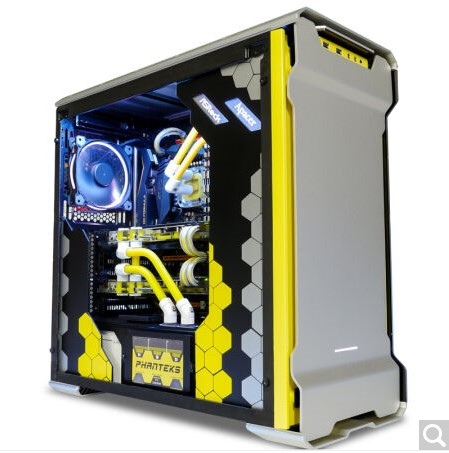 PHANTEKS 515ETG Silver / Black Bilateral Toughened Glass Computer Games Water Cooled Chassis ...