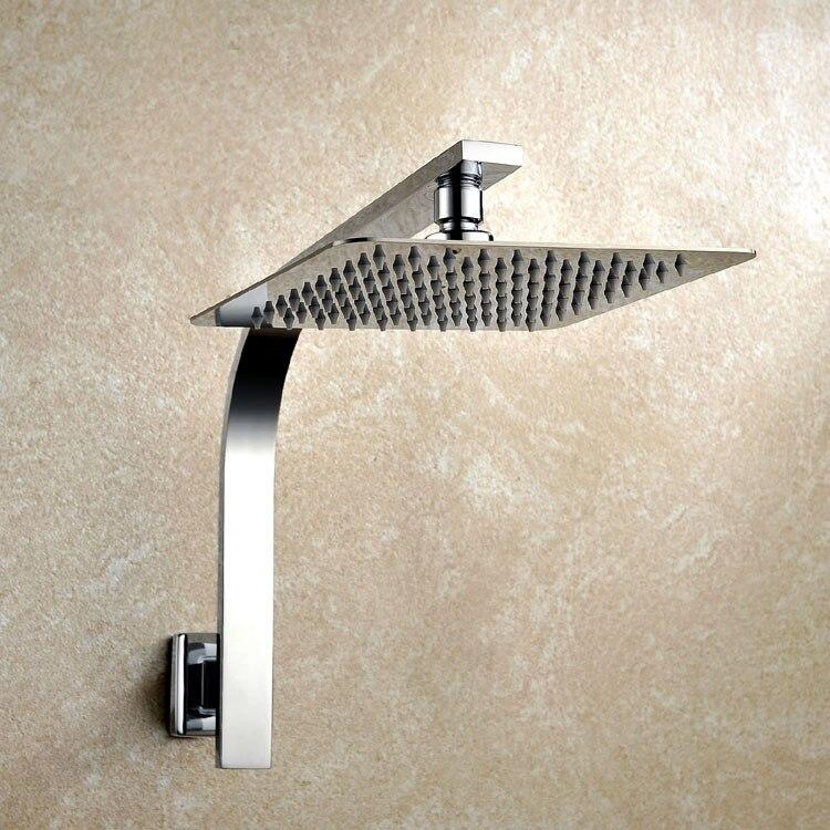 8 inch Premium Quality Stainless Steel Rainfall Shower Head Extension Gooseneck Shower Arm Set, Chrome 03 111