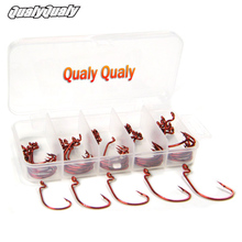 50 Pcs Strong Fish Hooks High Carbon Steel Fishhooks Wide Gap Offset Soft Lure Worm Hooks Jig Fishing Hooks Laser Red Fishhook