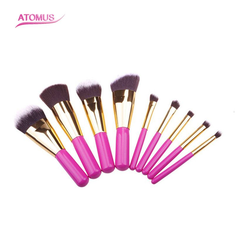 9pcs/Set Foundation Makeup Brushes Eyeshadow Powder Eyebrow Eyeliner Make Up Brush Set Professional Cosmetic Tools Kit Pink kesmall 10pcs professional makeup brushes set facial eyebrow eyeshadow powder foundation brush cosmetics make up tools co430