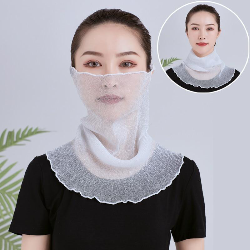 2019 new multi-function bib female heads sunscreen thin small silk shawl fake collar hand towel wild collar solid color   scarf