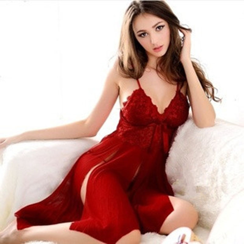 Solid Lingerie Sexy Hot Erotic Lace Transpar Lenceria Sexy erotic lingerie for women sexy split Sleepwear Temptation Nightgown
