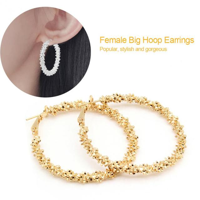 New Design Fashion Charm Austrian Crystal Hoop Earrings Geometric Round Shiny Women Party  Rhinestone Big Earring Jewelry Gift