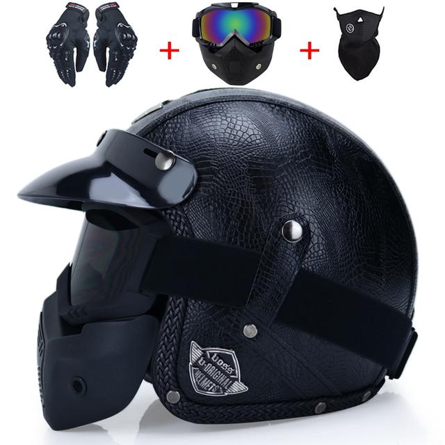 Open helmet 3/4 custom helmet for men vintage retro motorbike