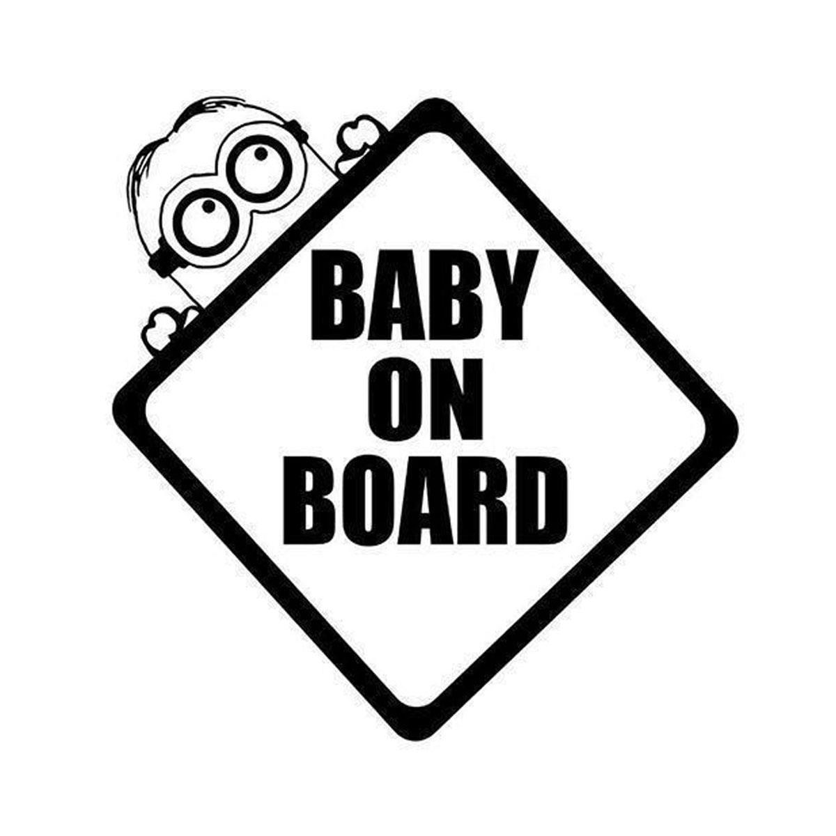 Baby On Board Minion Sticker Decal Vinyl Car Window Windscreen Wall Home Bedroom Children Refrigerator Bumper XMAS Decor Gift